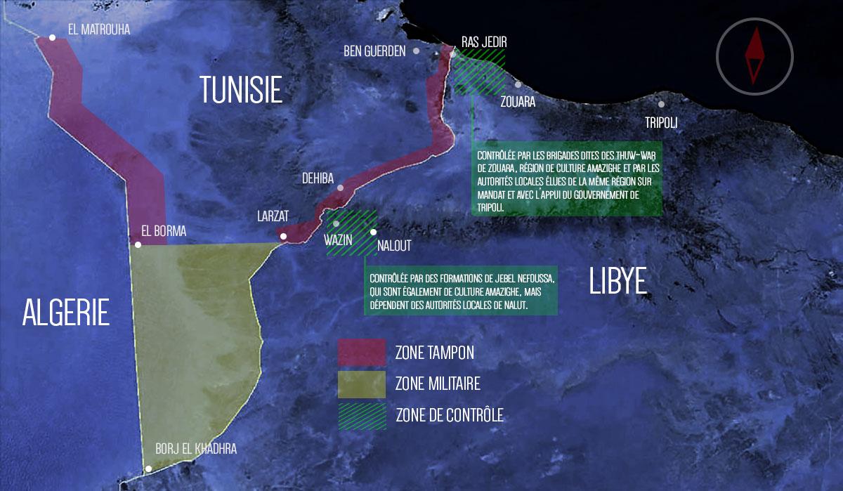 Infographie des zones de contrôle coté libyen des postes frontaliers de Ras Jedir et de Dehiba.